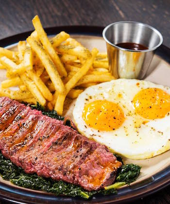 Steak and egg and fries at Lily & Bloom