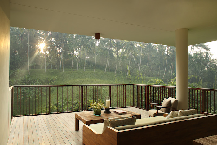view from the terrace of an alila ubud villa