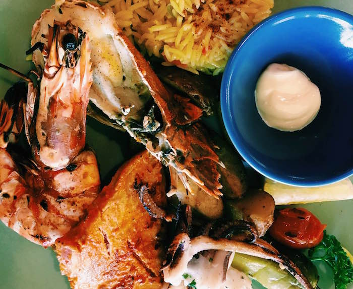 seafood platter with prawns and lobster