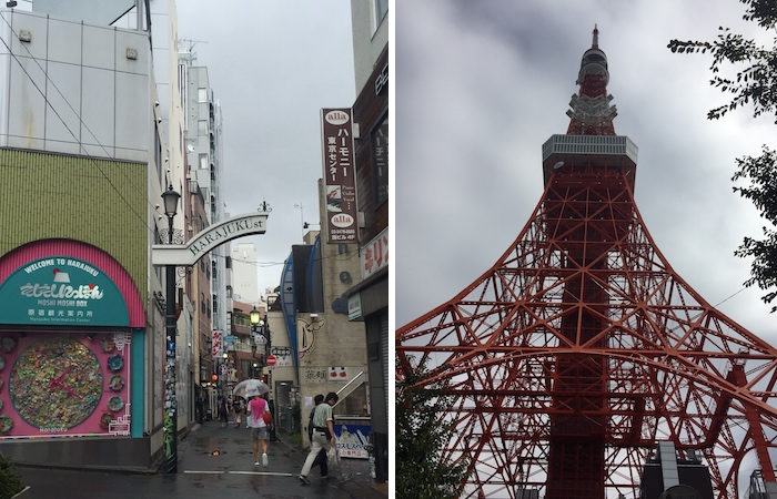 collage of tokyo tower and harajuku district