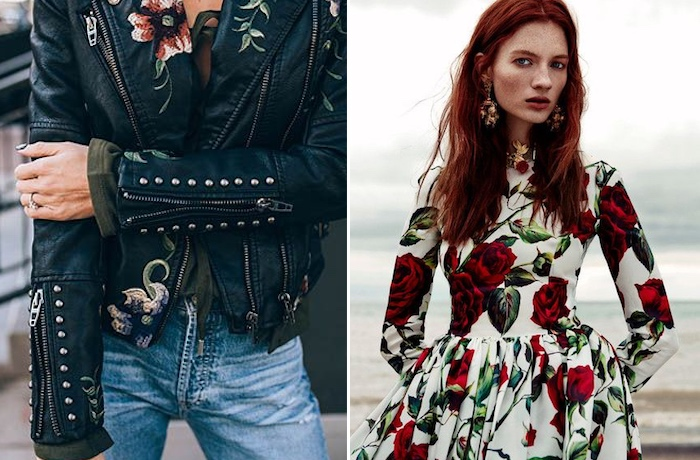 collage of women wearing winter florals